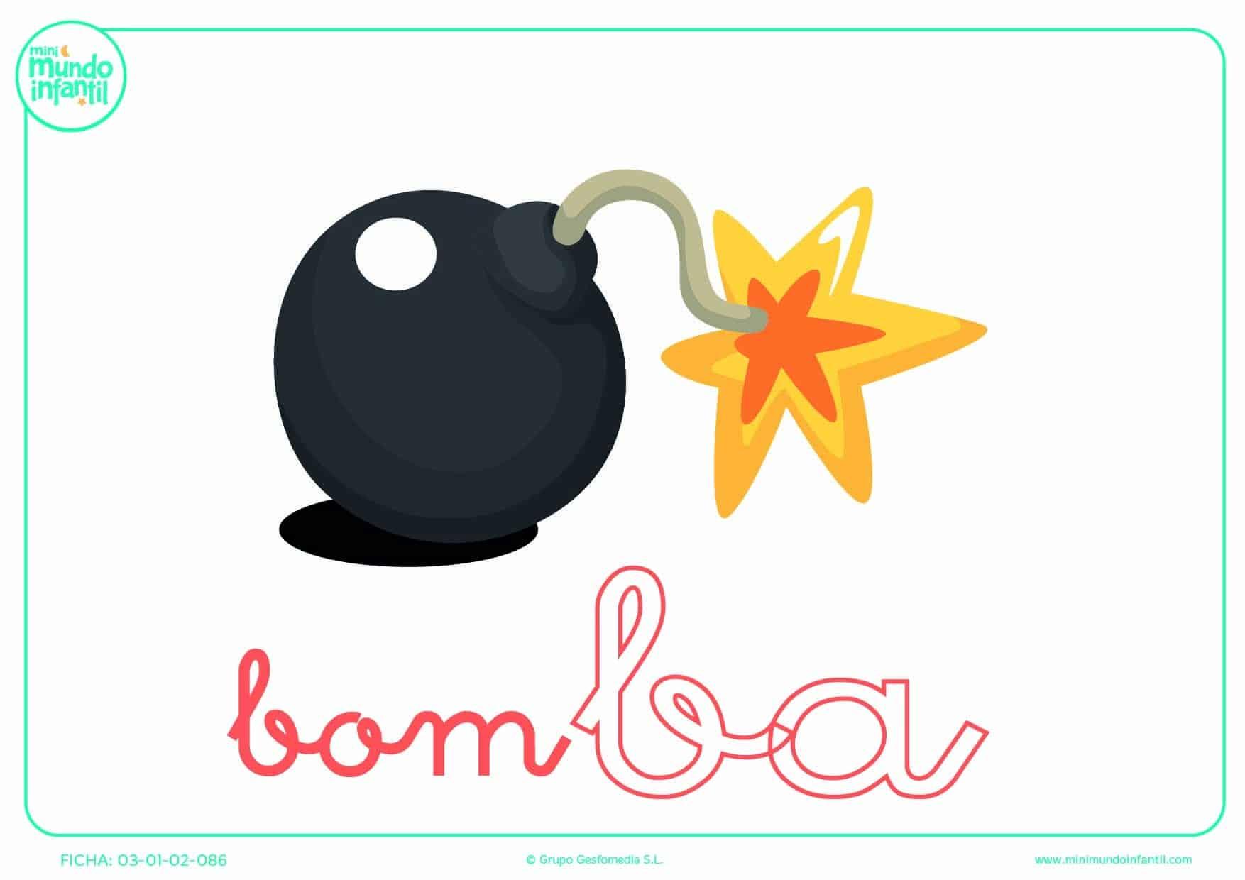 Sílaba BA minúscula de bomba para colorear