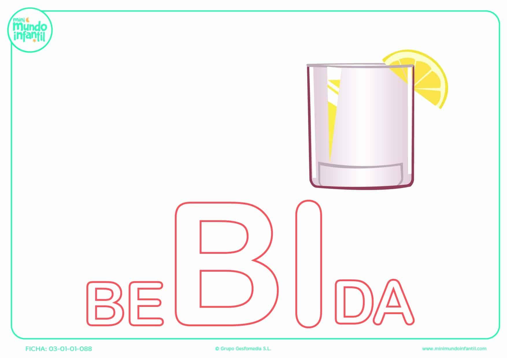 Sílaba BI mayúscula de bebida para completar