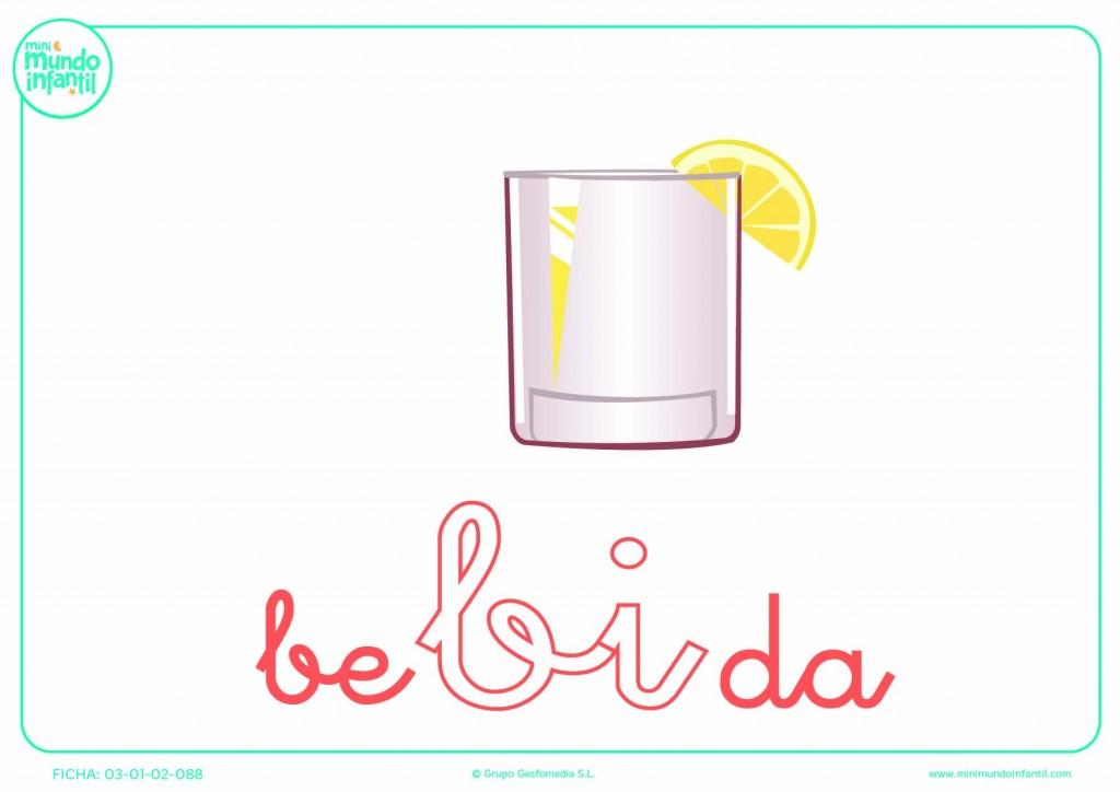 Sílaba BI minúscula de bebida para pintar