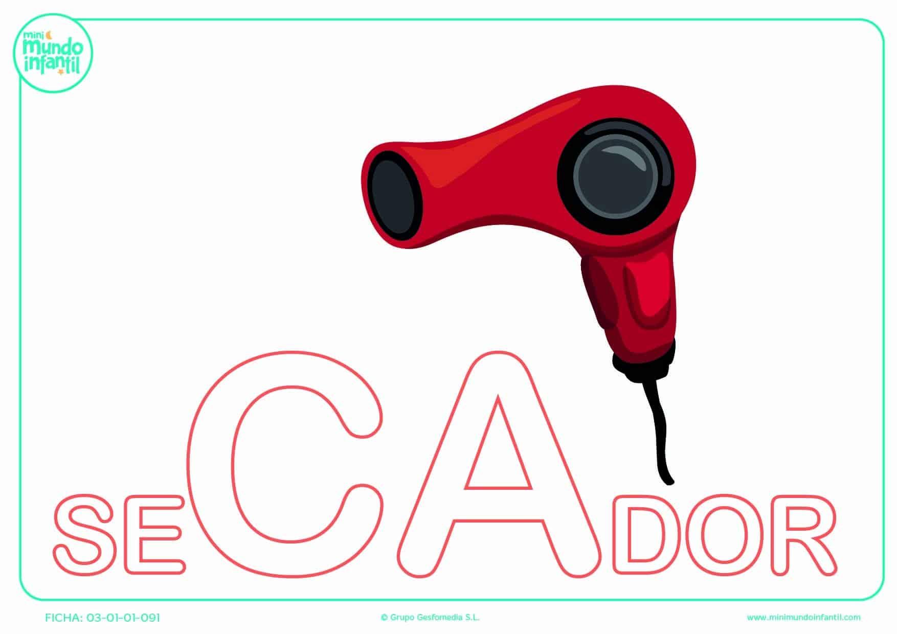 Sílaba CA mayúscula de secador para pintar