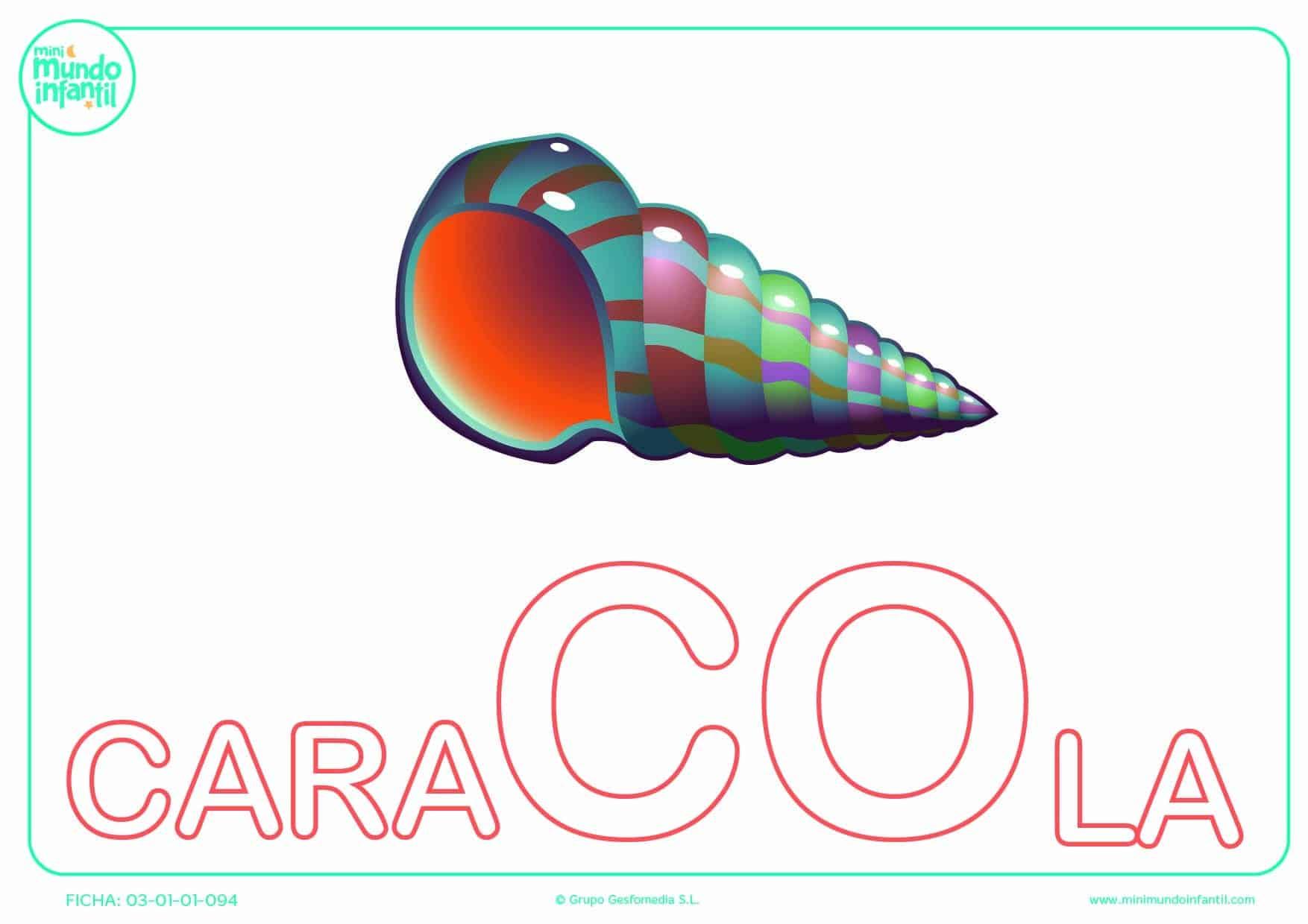 Sílaba CO mayúscula de caracola para poner color