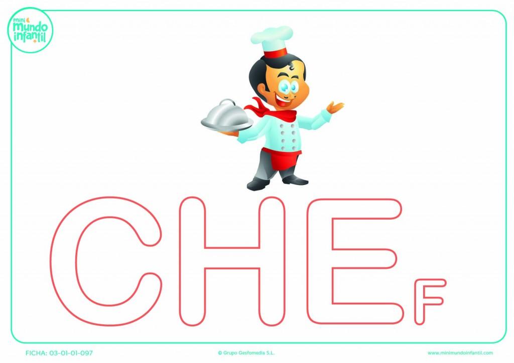 Pintar la sílaba CHE mayúscula de chef