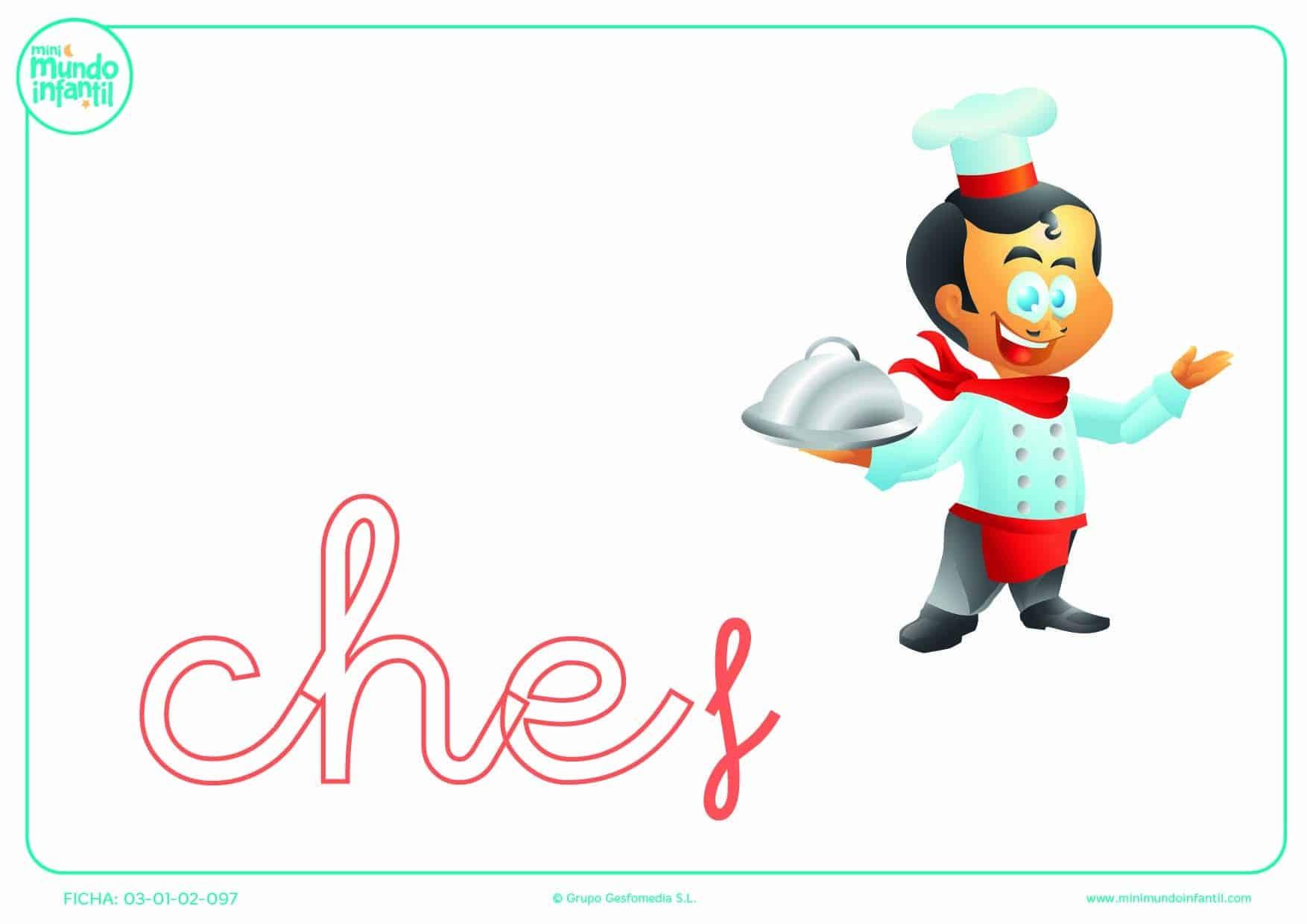 Rellenar la sílaba CHE minúscula de chef