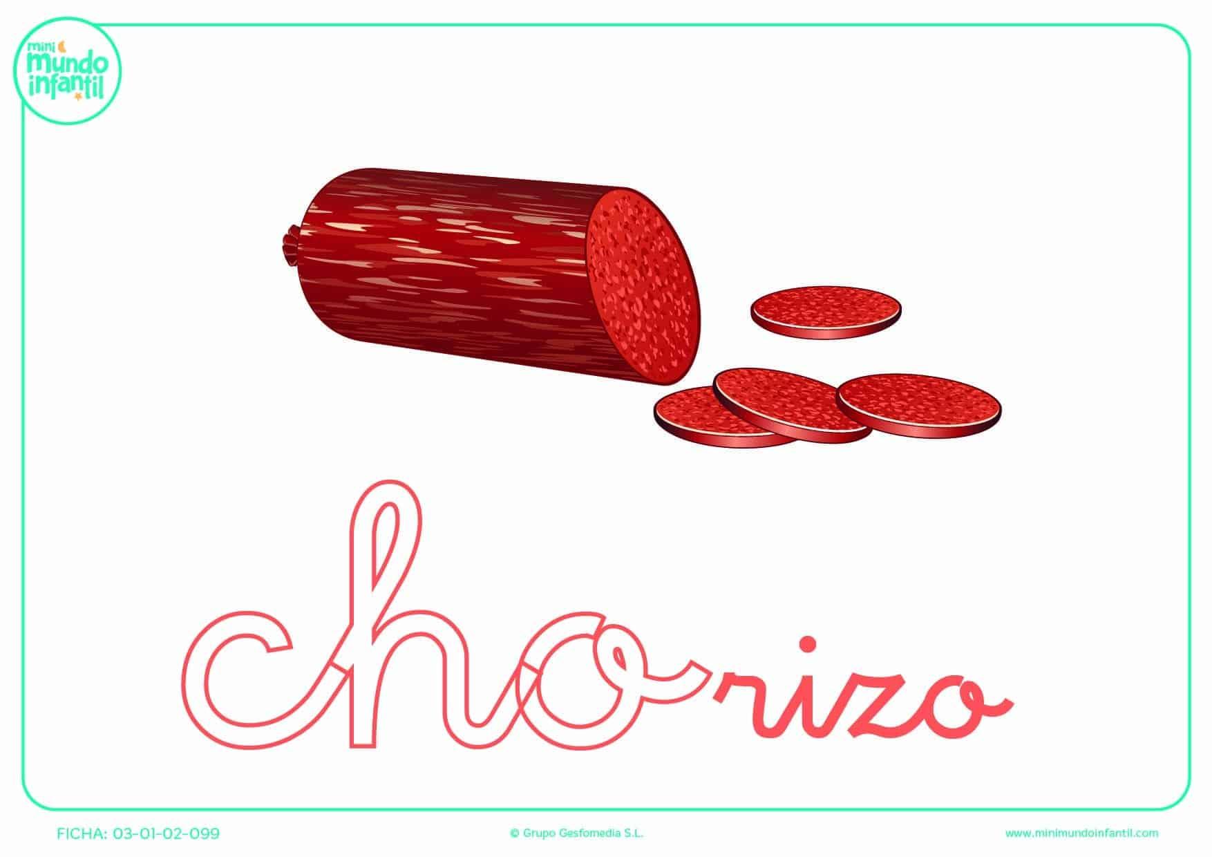 Pintar la sílaba CHO minúscula de chorizo