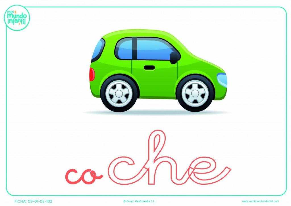 Sílaba CHE minúscula de coche para pintar