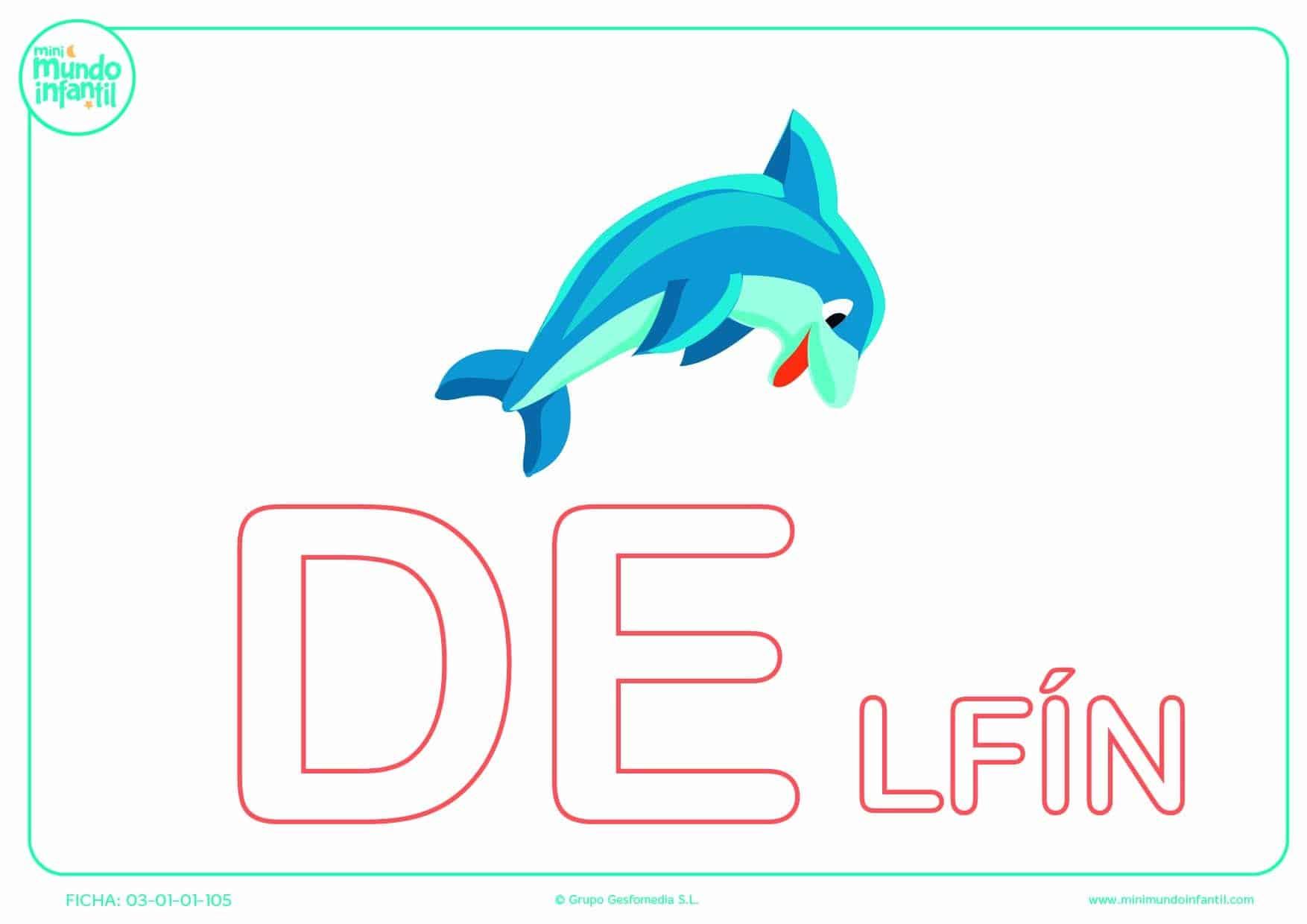 Sílaba DE de delfín en mayúsculas para pintar