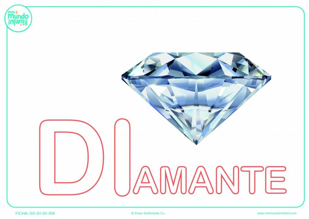 Sílaba DI de diamante en mayúsculas para rellenar