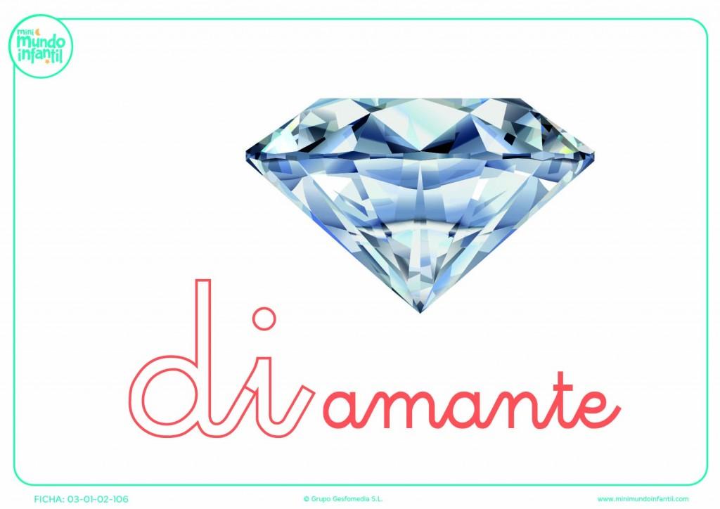 Sílaba DI de diamante en minúsculas para rellenar