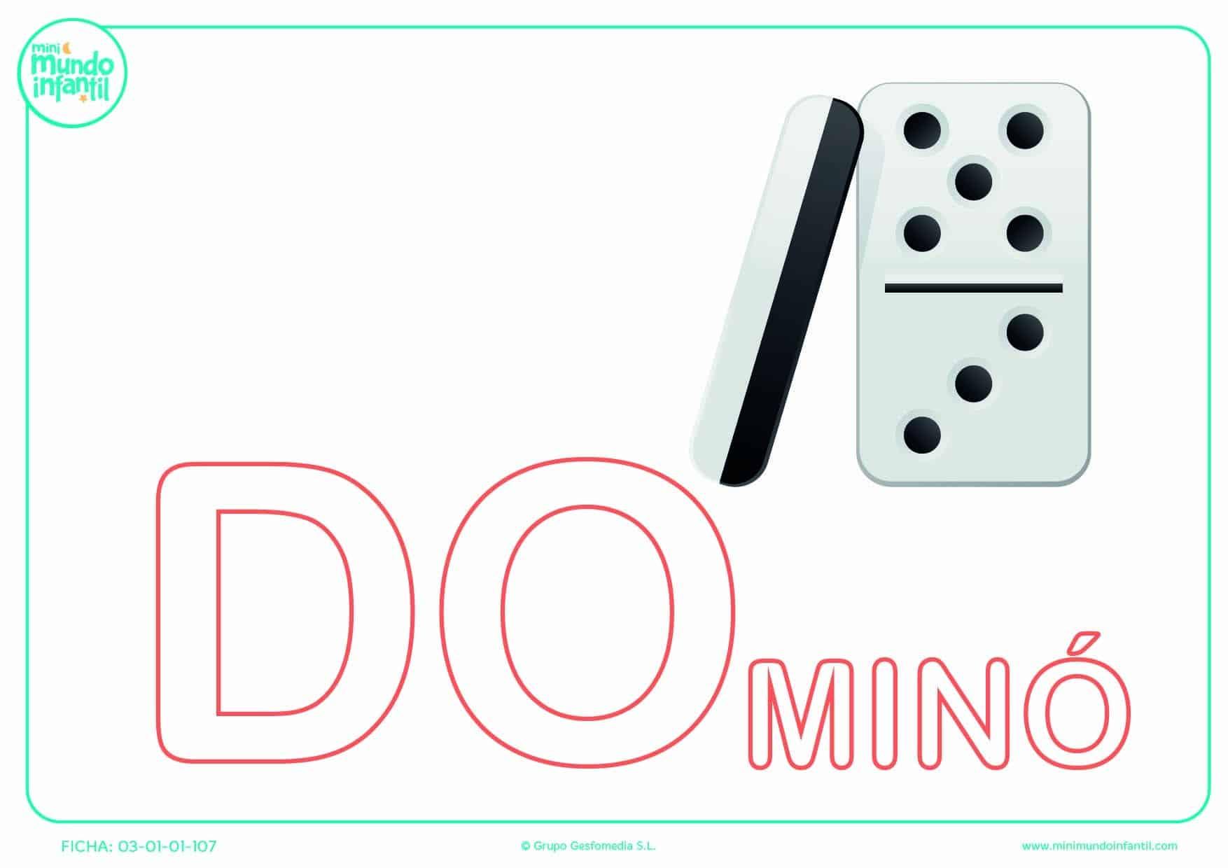 Sílaba DO de dominó en mayúsculas para poner color