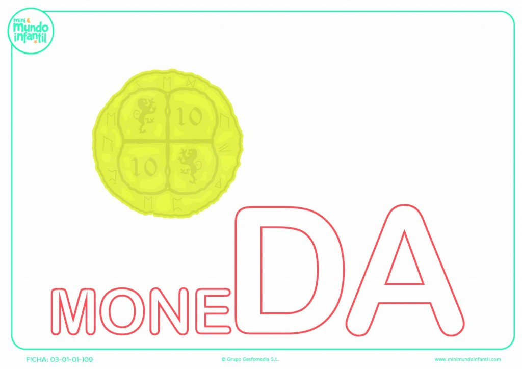 Poner color a la sílaba DA de moneda en mayúsculas