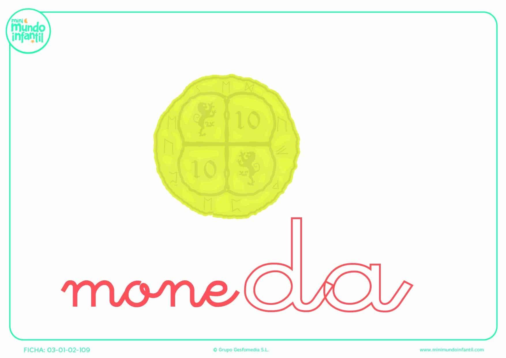 Colorear a la sílaba DA de moneda en minúsculas