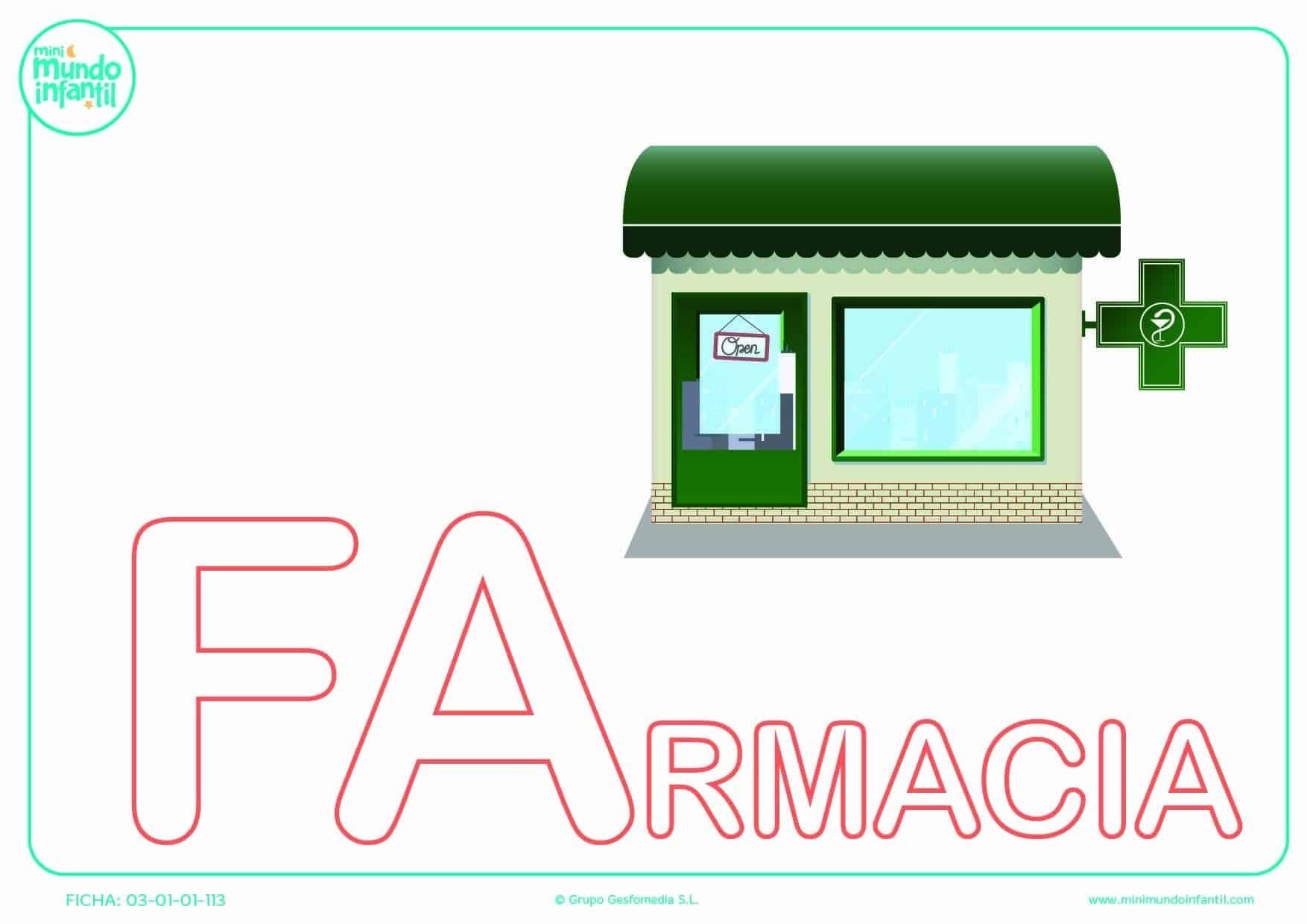 Colorear la sílaba FA de farmacia en mayúsculas