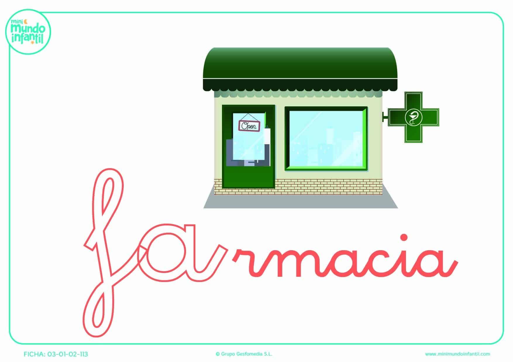 Completar la sílaba FA de farmacia en minúsculas