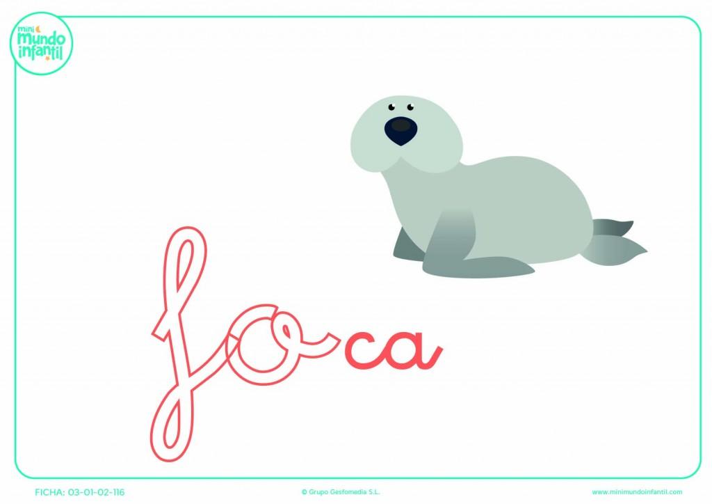 Colorear la sílaba FO de foca en minúsculas