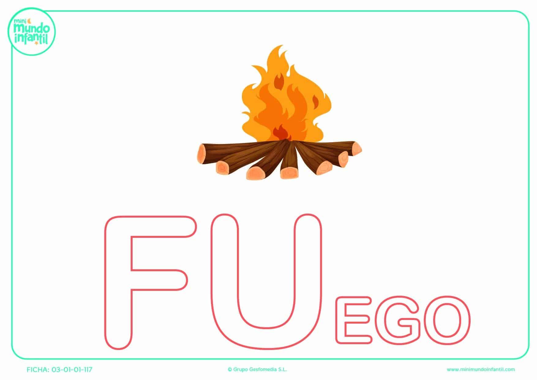 Completar la sílaba FU de fuego en mayúsculas