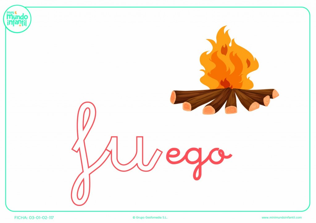 Pintar la sílaba FU de fuego en minúsculas