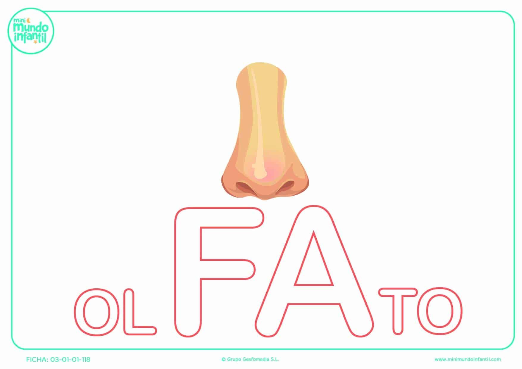 Sílaba FA de olfato para colorear en mayúsculas