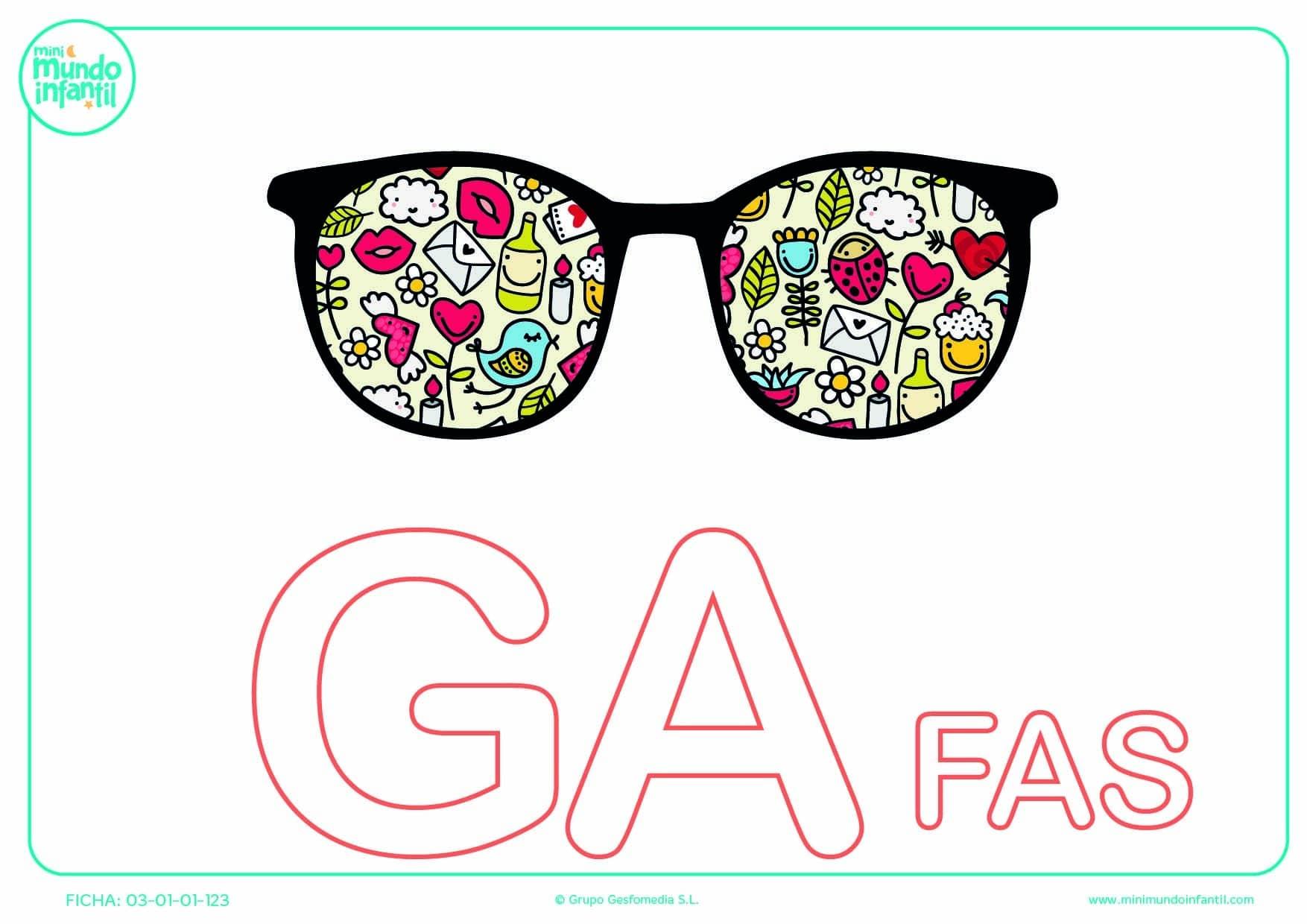Sílaba GA mayúscula de gafas para poner color