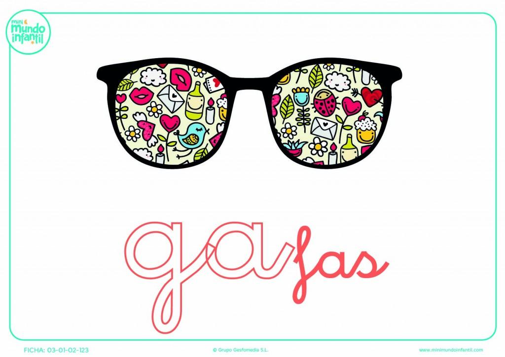 Sílaba GA minúscula de gafas para colorear