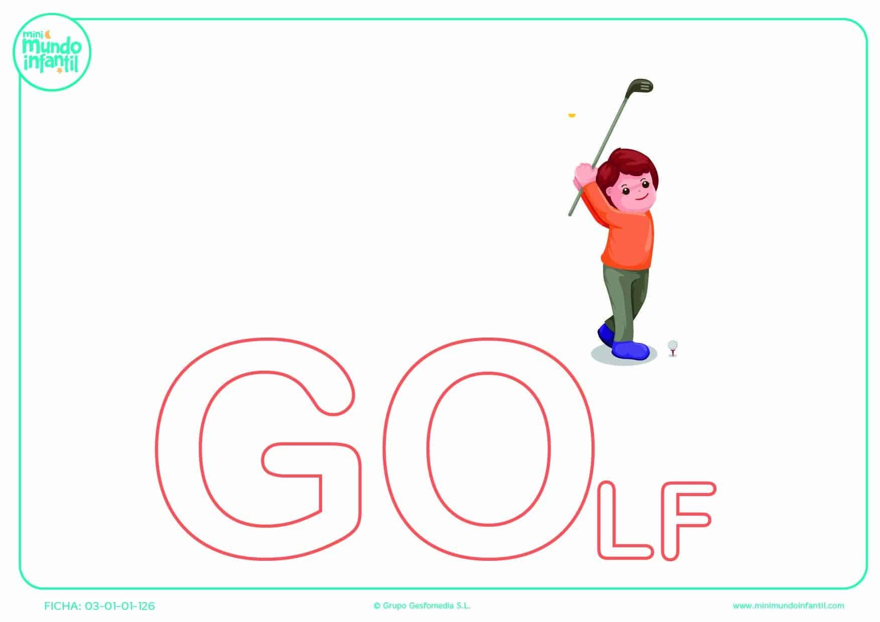 Sílaba GO mayúscula de golf para completar
