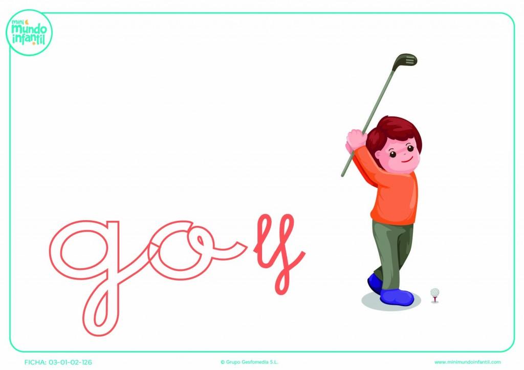 Sílaba GO minúscula de golf para pintar