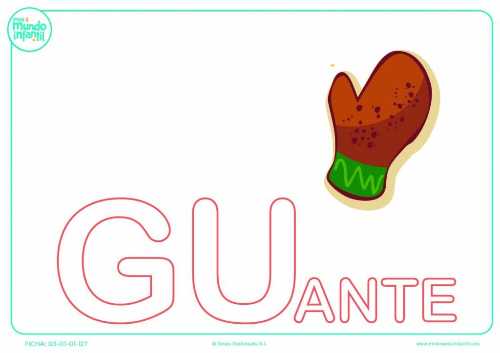 Sílaba GU mayúscula de guante para colorear