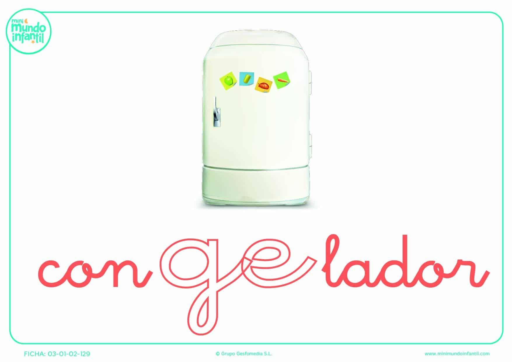 Poner color la sílaba GE minúscula de congelador