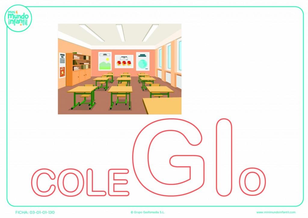 Pintar la sílaba GI mayúscula de colegio