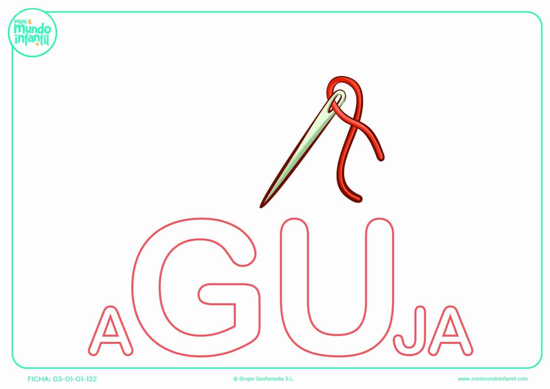 Completar la sílaba GU mayúscula de aguja