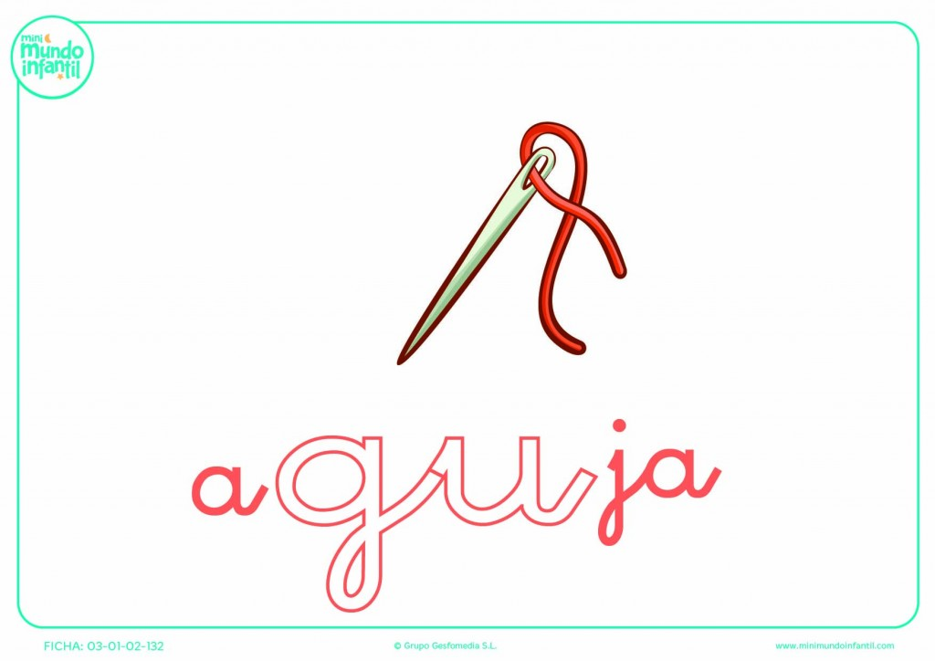 Pintar la sílaba GU minúscula de aguja