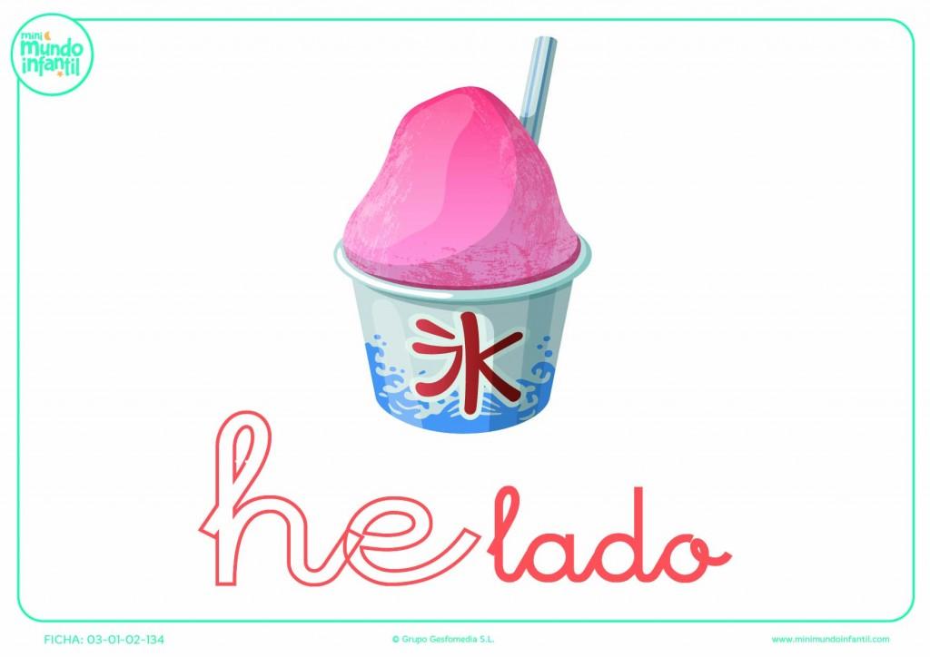 Completar la sílaba HE de helado en minúsculas