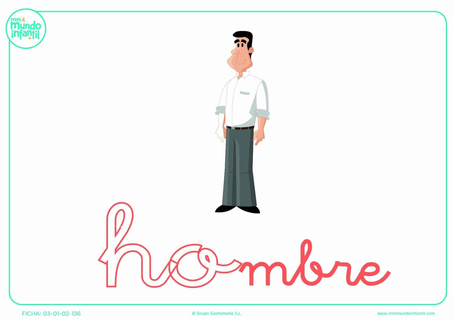 Colorear la sílaba HO de hombre en minúsculas
