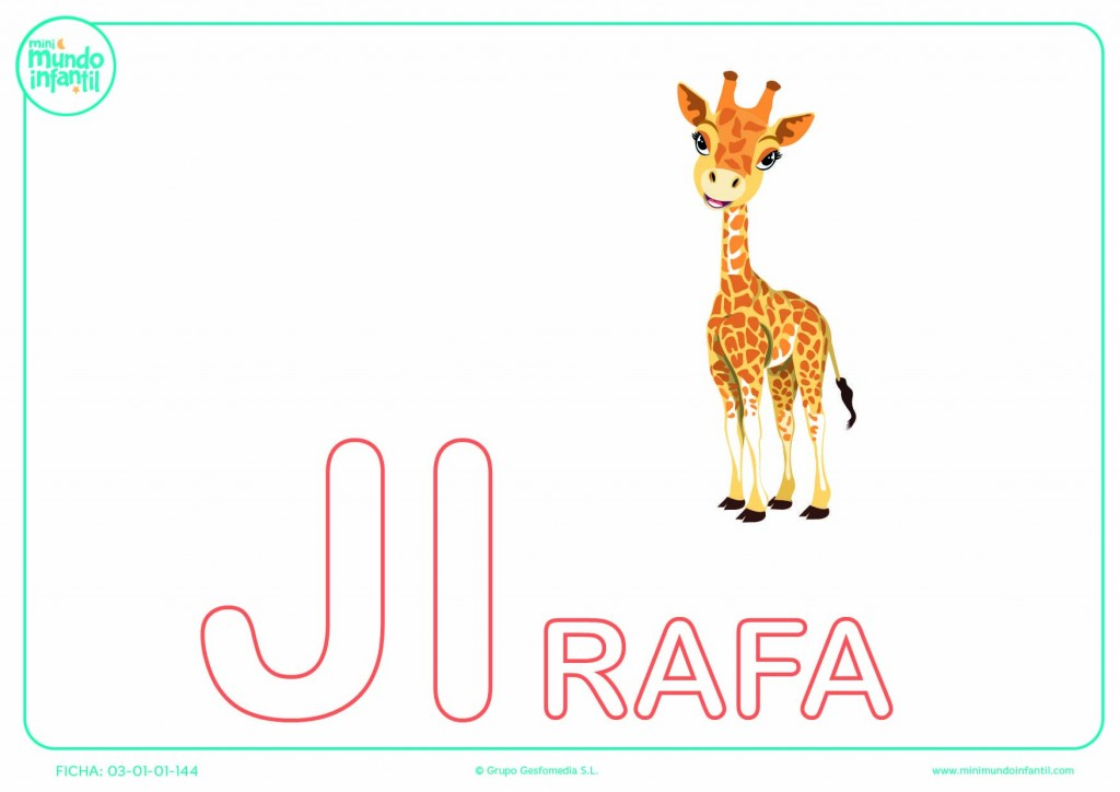 Sílaba JI de jirafa en mayúsculas para pintar