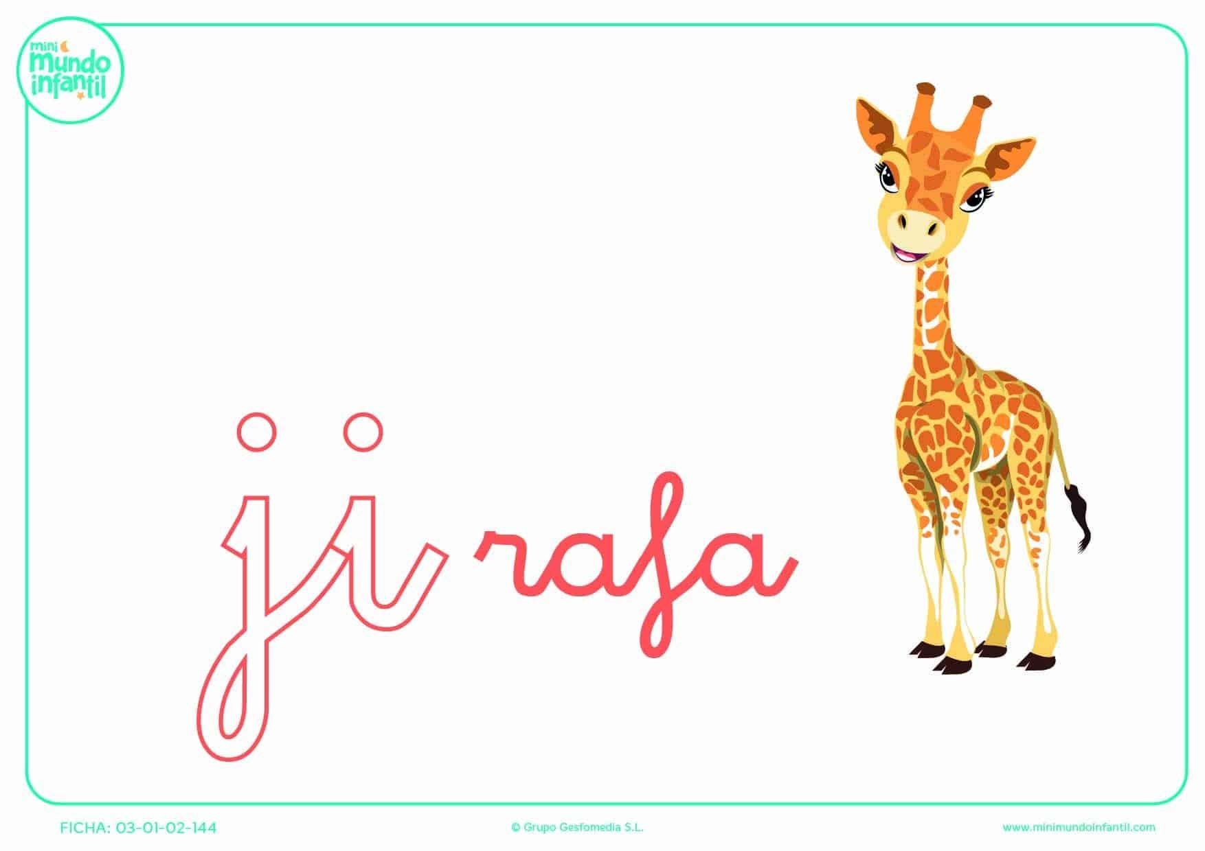 Sílaba JI de jirafa en minúsculas para completar