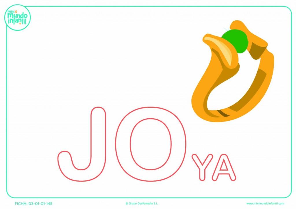 Sílaba JO de joya en mayúsculas para completar