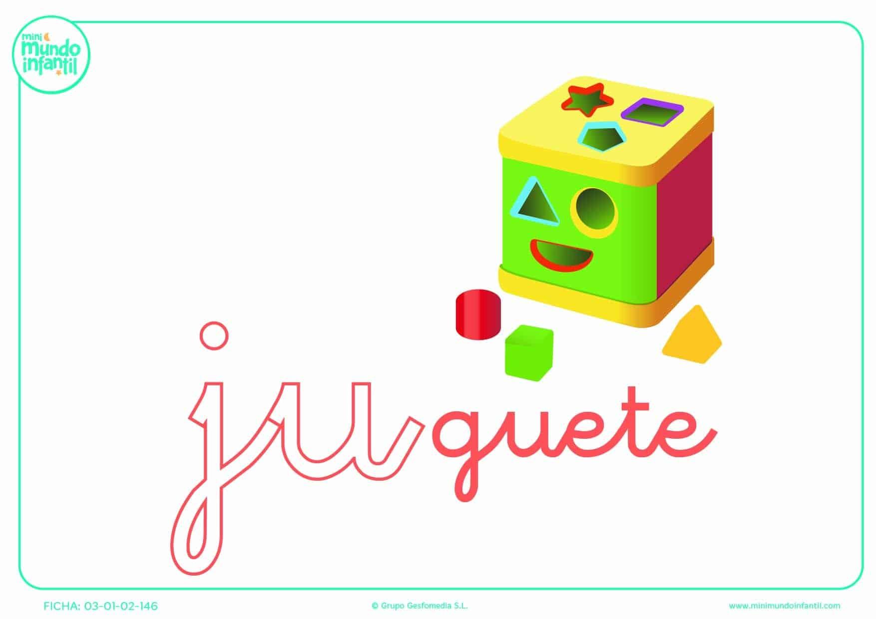 Sílaba JU de juguete en minúsculas para poner color