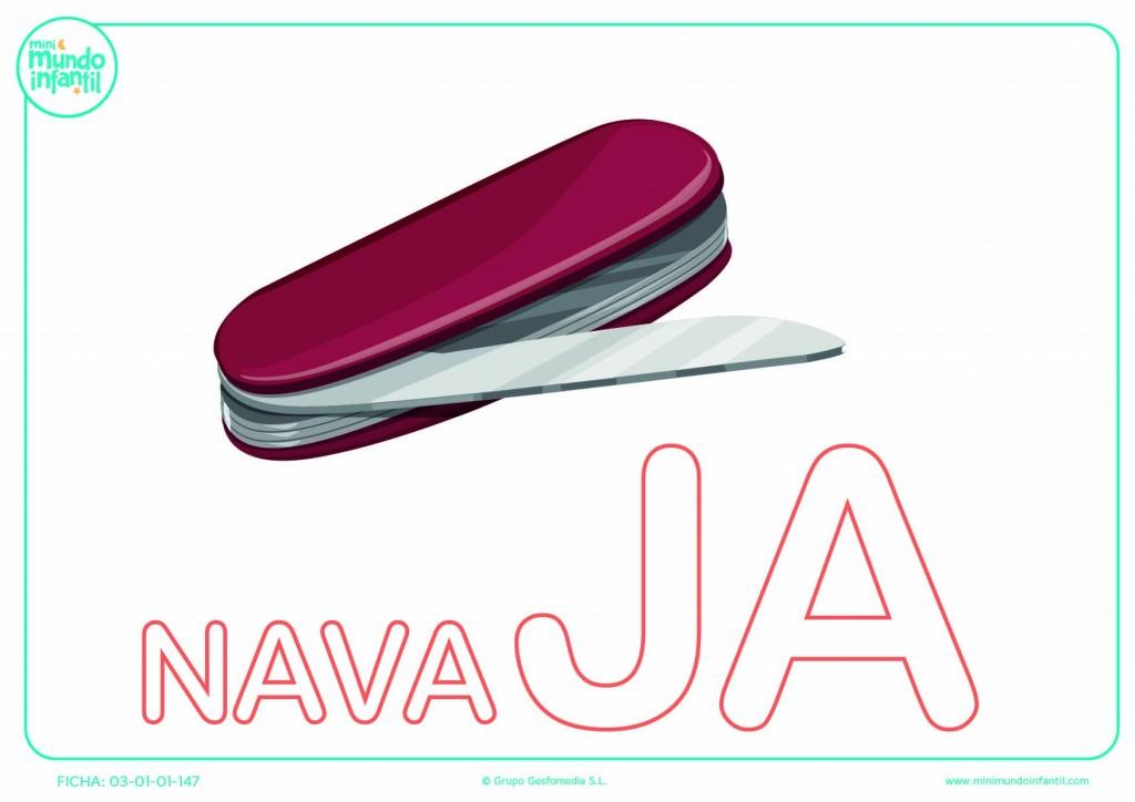 Colorear la sílaba JA mayúscula de navaja