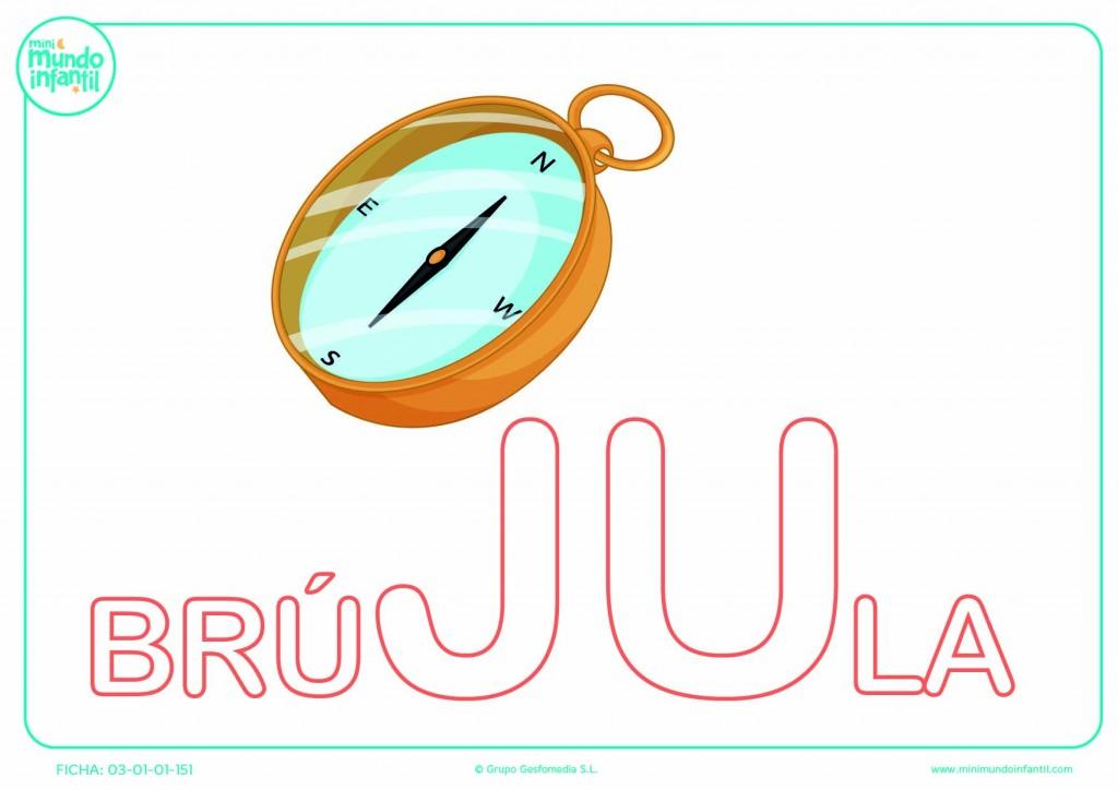 Completar la sílaba JU mayúscula de brújula