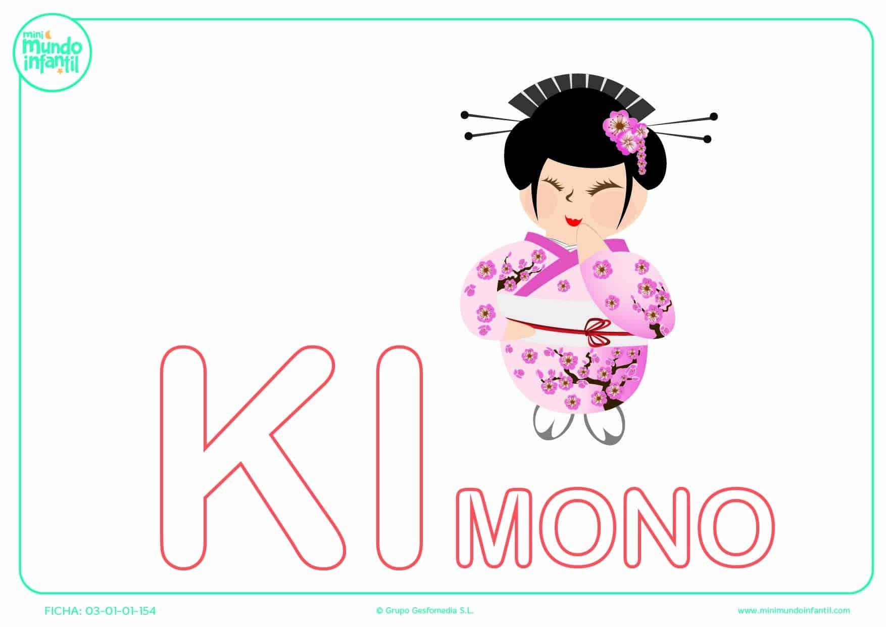 Sílaba KI de kimono en mayúsculas para rellenar