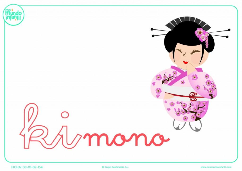 Sílaba KI de kimono en minúsculas para rellenar