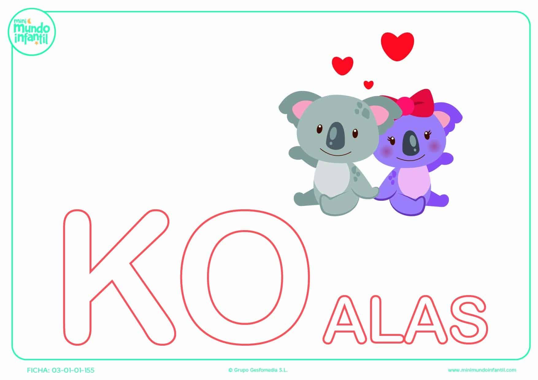 Sílaba KO de koalas en mayúsculas para completar
