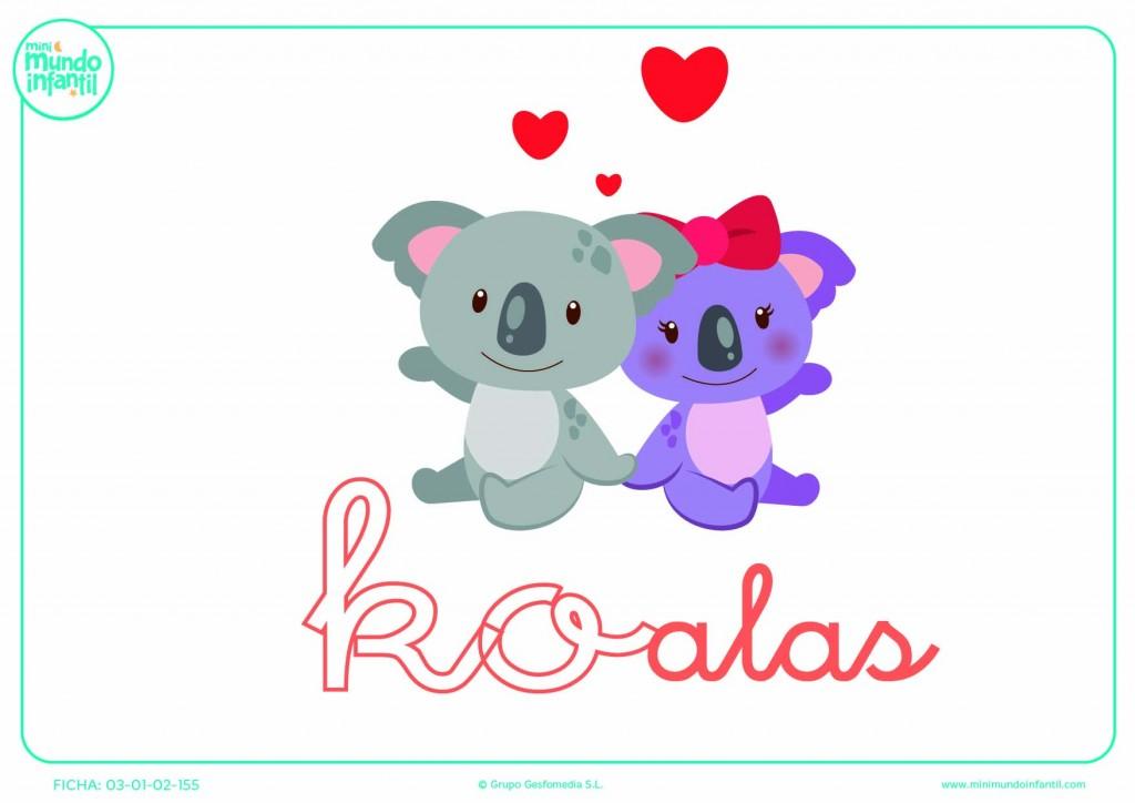 Sílaba KO de koalas en minúsculas para pintar