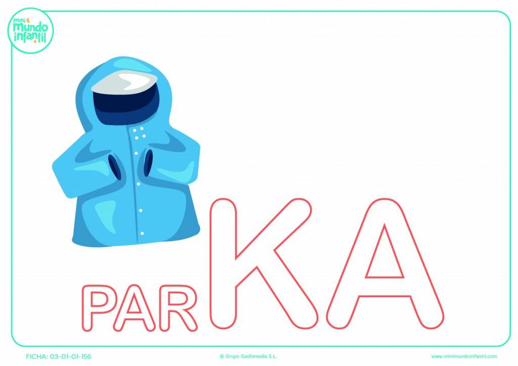 Colorear la sílaba KA en mayúsculas de parka