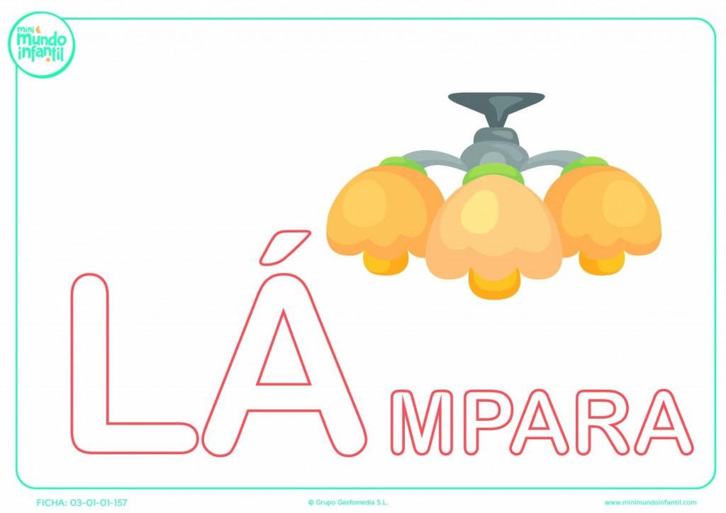 Poner color a la sílaba LA mayúscula de lámpara