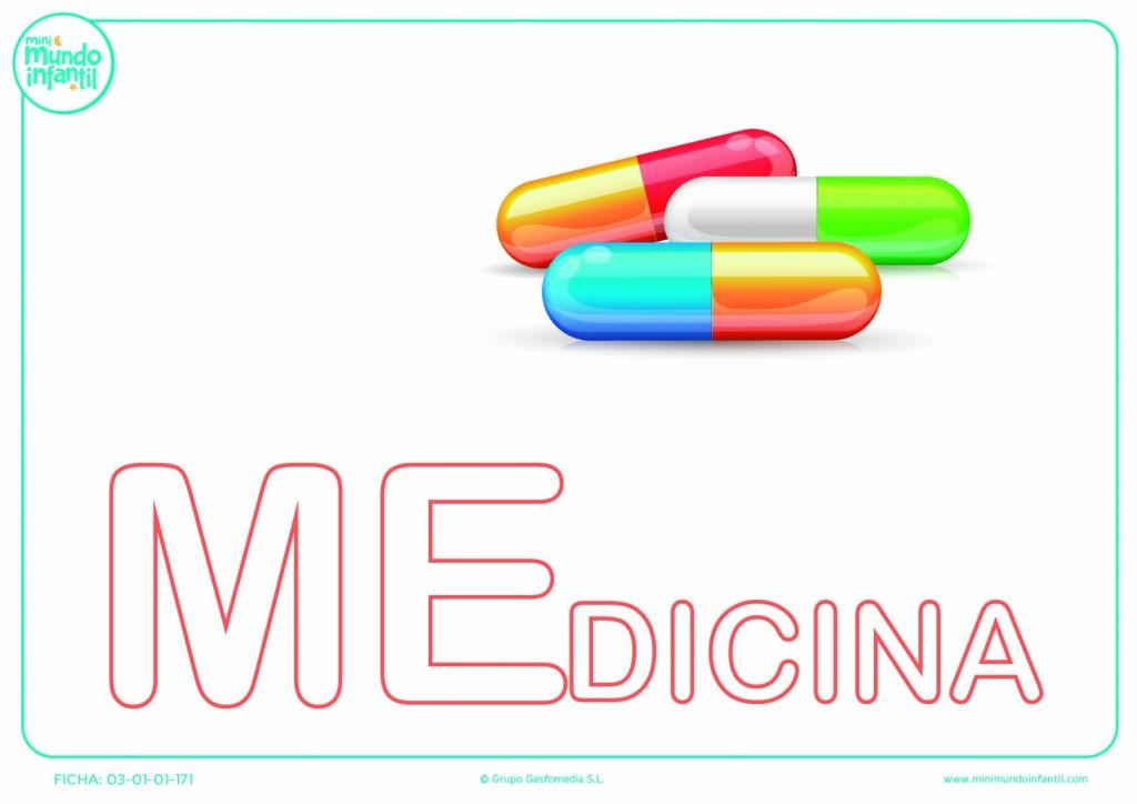 Sílaba ME mayúscula de medicina para rellenar