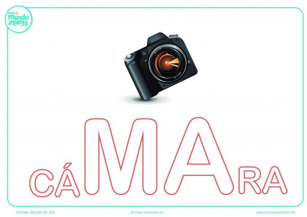 Rellena la sílaba MA mayúscula de cámara