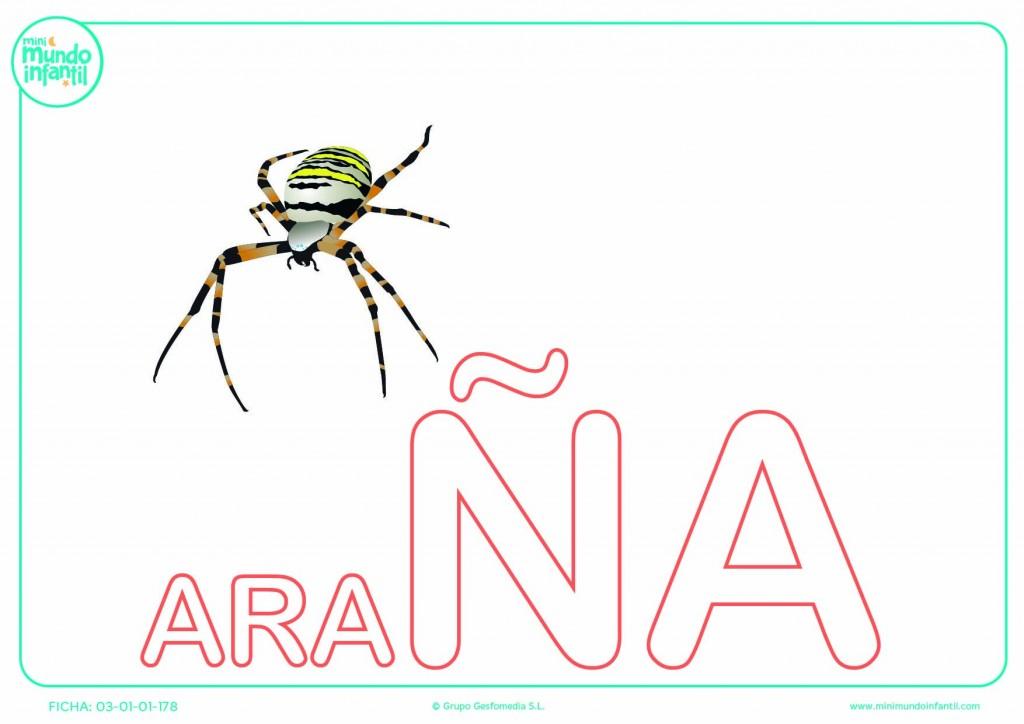 Sílaba ÑA mayúscula de araña