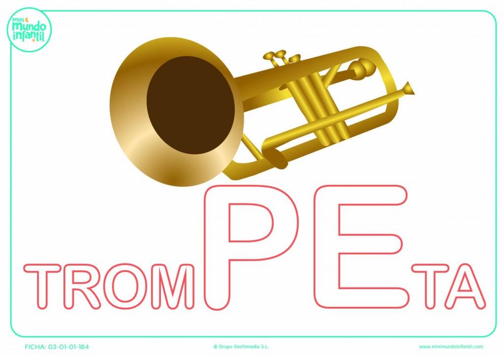 Rellenar la sílaba PE de trompeta en mayúsculas