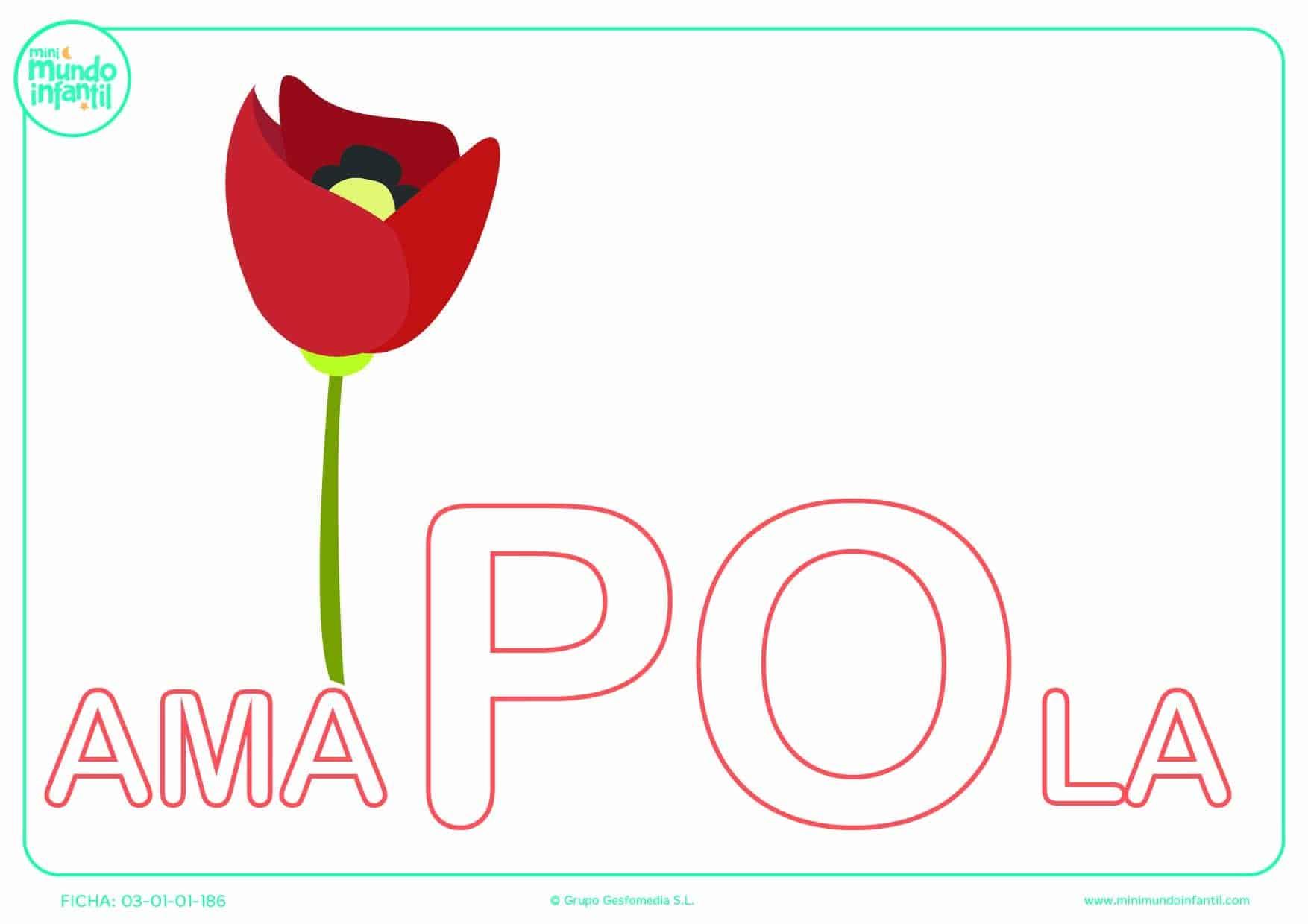 Colorear la sílaba PO de amapola en mayúsculas