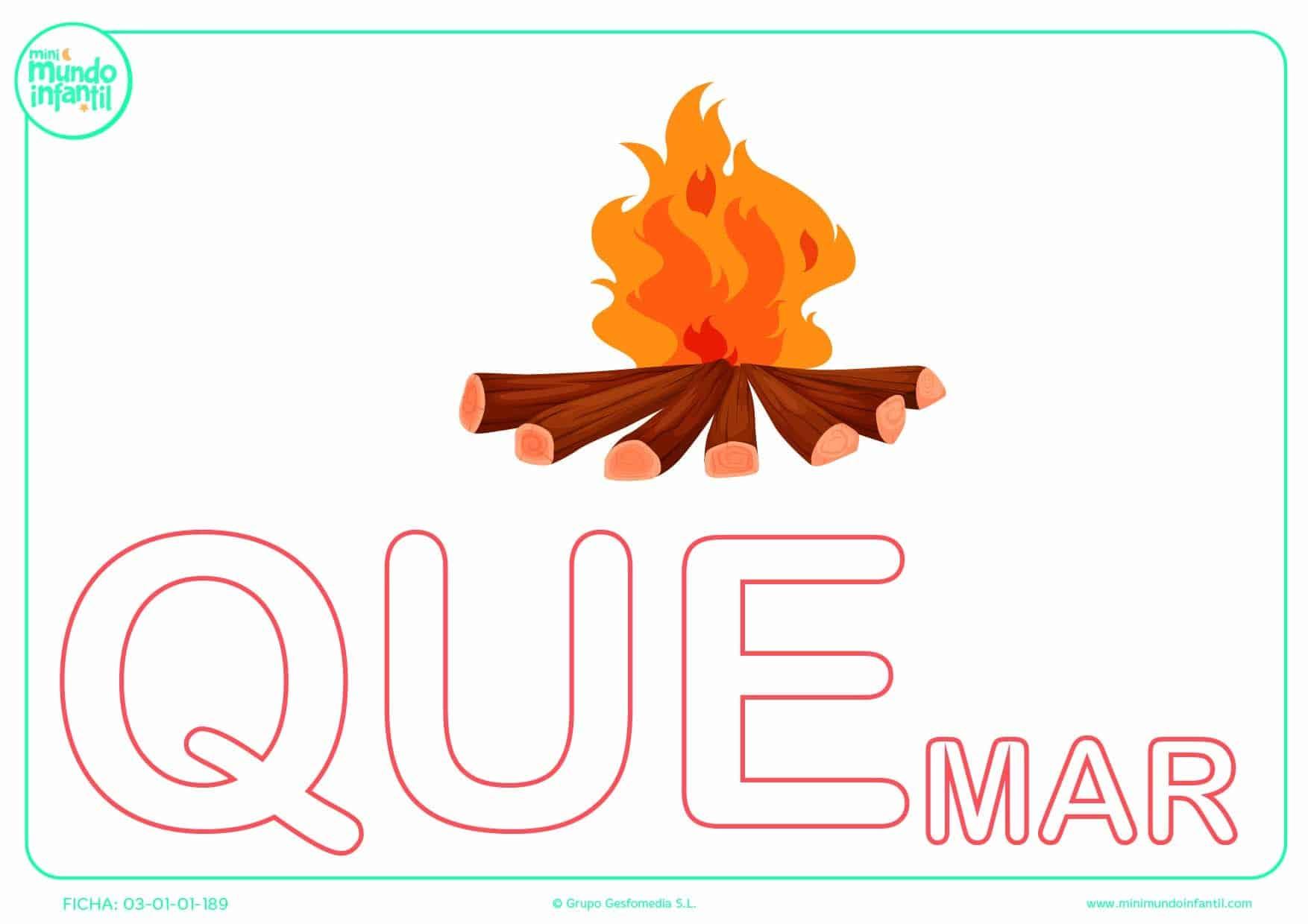 Pintar la sílaba QUE mayúscula de quemar